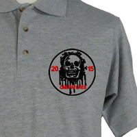 custom team morale patch blood skull(sew on or iron on) on a grey shirt