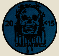 custom team morale patch blood skull on navy with black thread