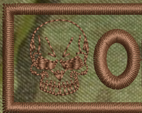 merrowed nametape with skull multicam, close up view