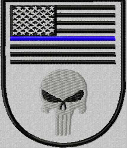 USA flag blue line Punisher patch, in a shield shape.