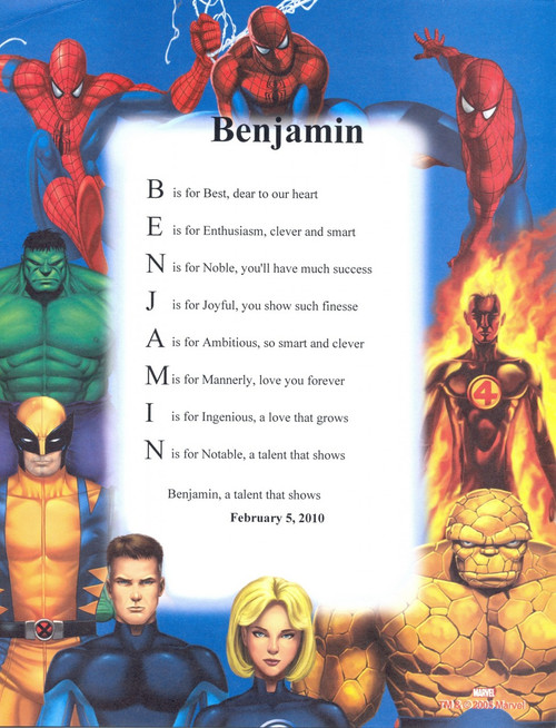 Personalized Marvel Heroes Name Poem