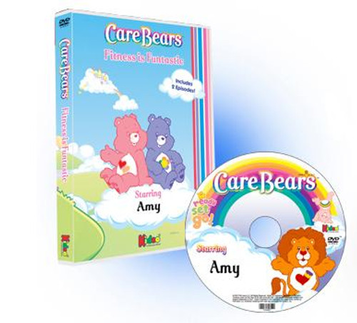 Care Bears Fitness is Funtastic Personalized DVD for Kids Case and Label