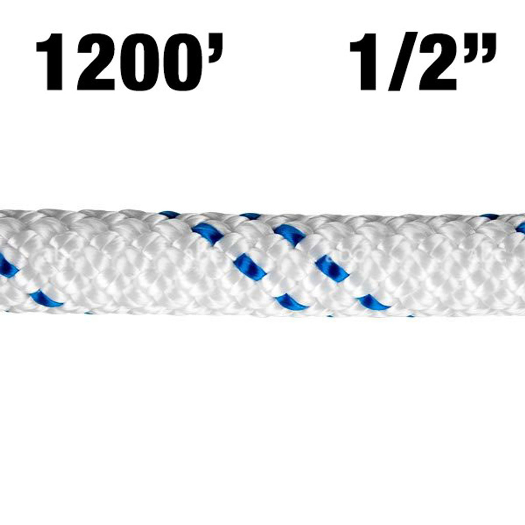 """Rope -- New England - KMIII - 1/2"""" - White w/ Blue Tracer - 1200'"""