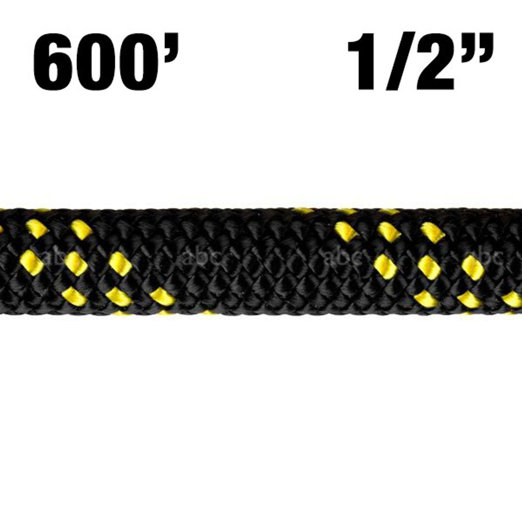 """Rope -- New England - KMIII - 1/2"""" - MAX Black w/ Yellow Tracer - 600'"""