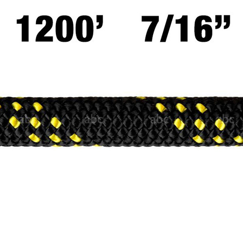 "Rope -- New England - KMIII - 7/16"" - MAX Black w/ Yellow Tracer - 1200'"