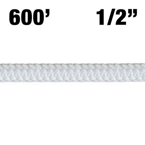 """Rope -- New England - Safety Blue - 1/2"""" - White w/ Safety Blue Core - 600'"""