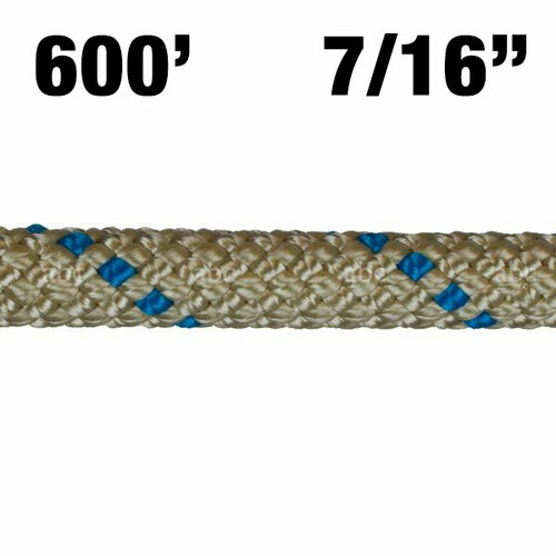 "Rope -- BlueWater - II + Plus - 7/16"" - Gold with Blue Marker - 600'"