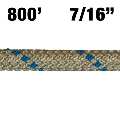 "Rope -- BlueWater - II + Plus - 7/16"" - Gold with Blue Marker - 800'"