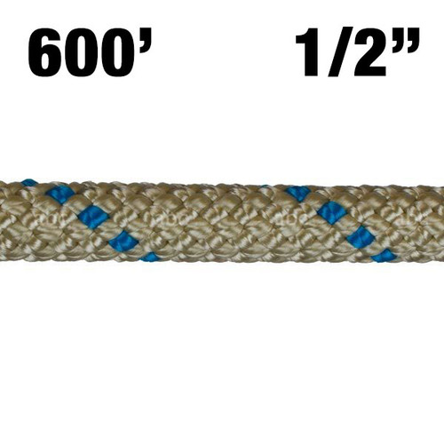 "Rope -- BlueWater - II + Plus - 1/2"" - Gold with Blue Marker - 600'"