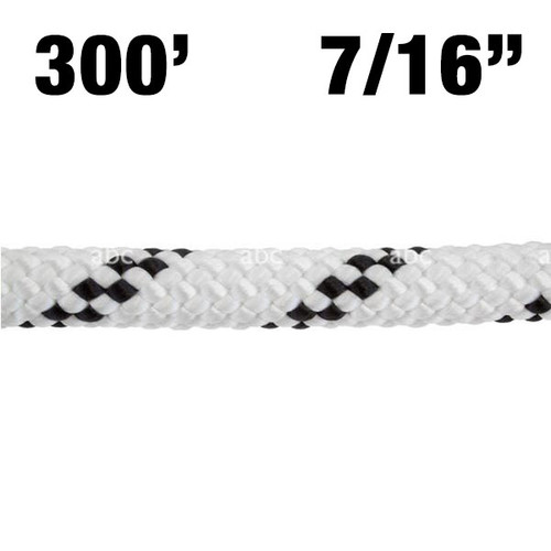 "7/16"" PMI Static Kernmantle EZ Bend White with Black Tracer 300'"