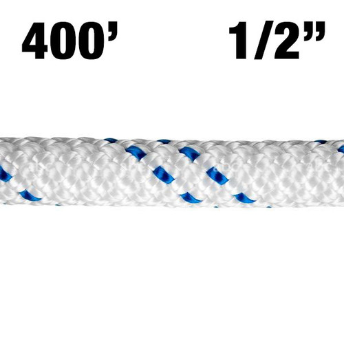 "Rope -- New England - KMIII - 1/2"" - White w/ Blue Tracer - 400'"