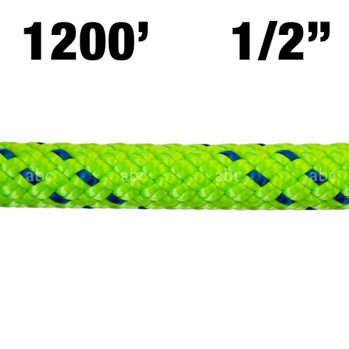 "Rope -- New England - KMIII - 1/2"" - Green w/ Blue Tracer - 1200'"