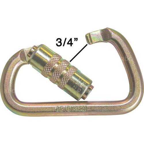 "Gold .75"" Gate Opening Auto Locking Steel Carabiner"