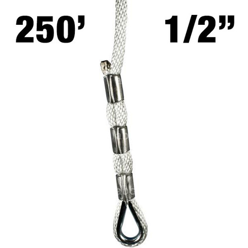"""Sky Genie Braided Nylon Rope with Thimbled eye at each end - 1/2"""" - 250'"""