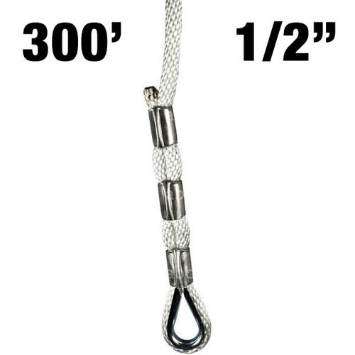 """Sky Genie Braided Nylon Rope with Thimbled eye at each end - 1/2"""" - 300'"""