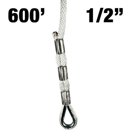 """Sky Genie Braided Nylon Rope with Thimbled eye at each end - 1/2"""" - 600'"""