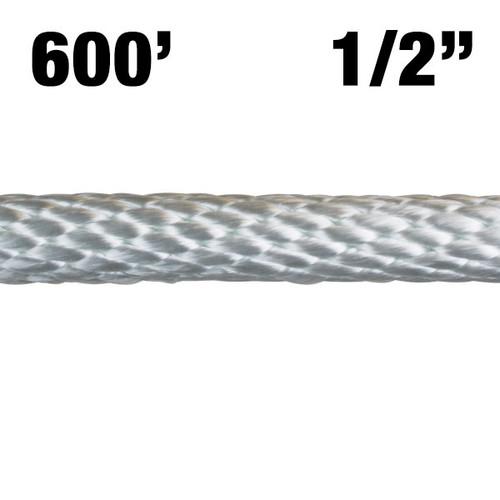 "Rope -- Solid Braided Nylon - 1/2"" - 600' - White"