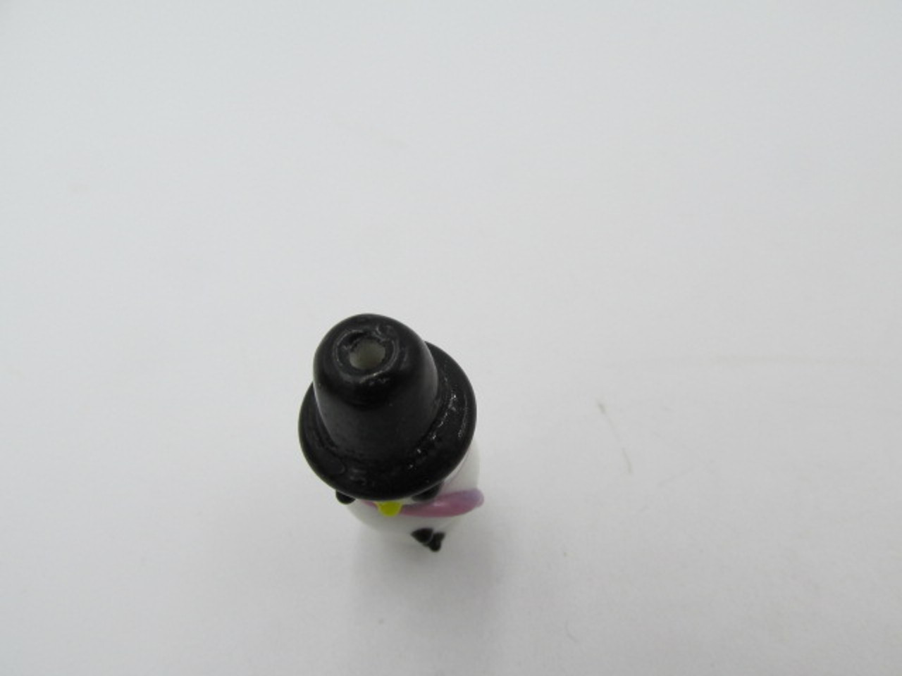 27x10mm Glass Snowman with Pink Scarf