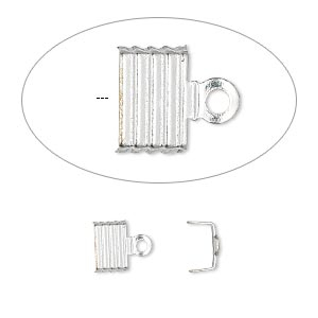 6.5x5mm Silver Plated Fiber Ends (12 Pack)