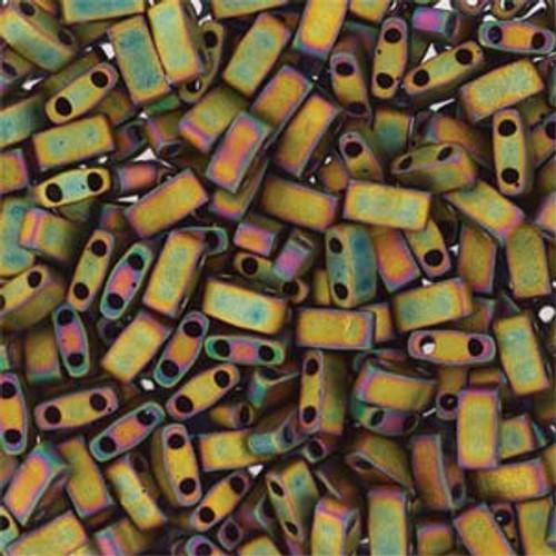 Matte Metallic Khaki Iris Half Tila Beads (2 Hole)