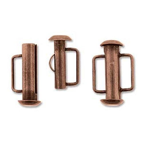 16.5mm Antique Copper Slide Bar Clasp 156