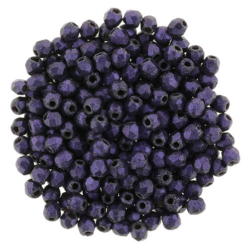 2mm Suede Purple Fire Polished Round Beads