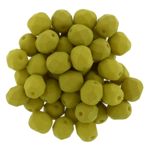 6mm Saturated Chartreuse Fire Polished Rounds (25 Beads)