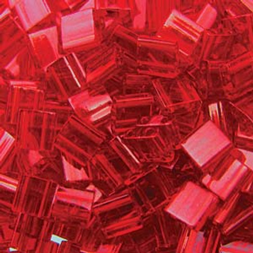 Transparent Red 5mm Tila Beads (TL140)