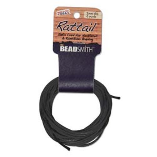 6yd 3mm Black Rat tail cording