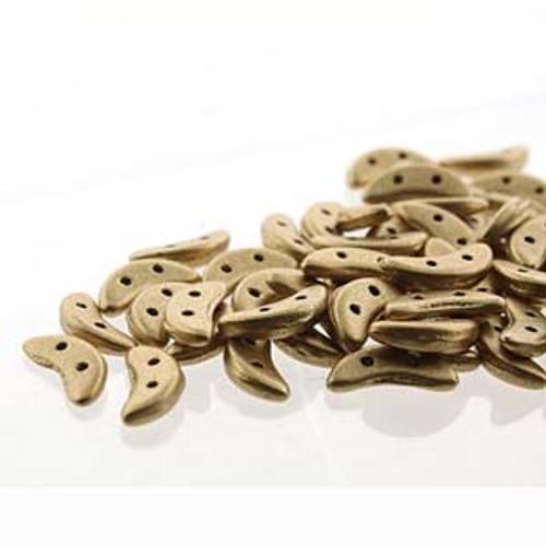 3x10mm Metallic Flax Crescent Beads