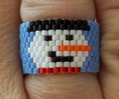 Peyote Stitch Smiling Snowman Ring (Graph) Tutorial