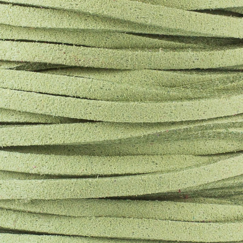1.5mm thick 2mm wide flat moss green Microsuede cord
