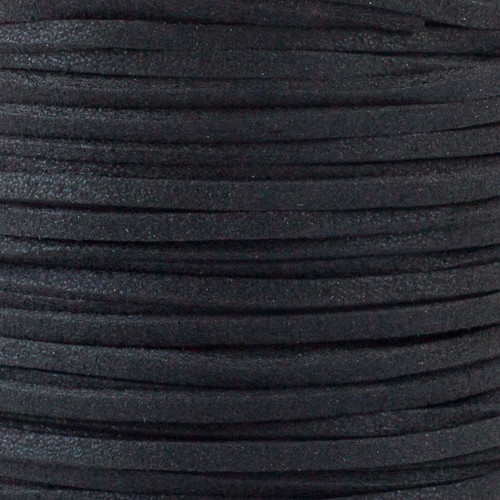 1.5mm thick 2mm wide flat black Microsuede