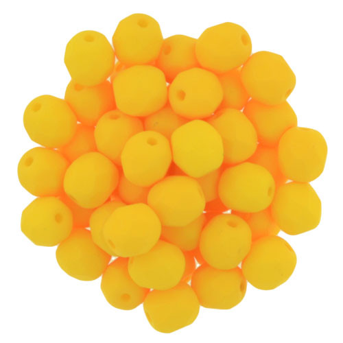 6mm Saturated Sunflower Fire Polished Glass Rounds