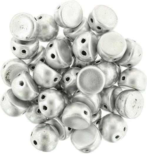 Metallic Silver Czechmate Two Hole Cabochon