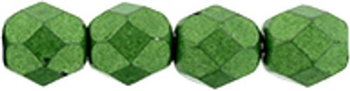 6mm Saturated Metallic Kale Fire Polish Beads (25 Beads)