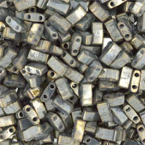Grey Luster Half Tila Beads (2 Hole)