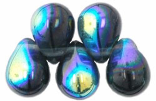 8x6mm Montana Blue AB Tear Drops (48-50 Beads)