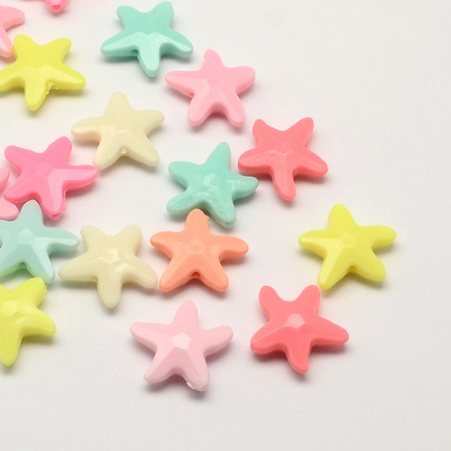 21x20x6mm Acrylic Starfish Bead Mix Colors - 12pk