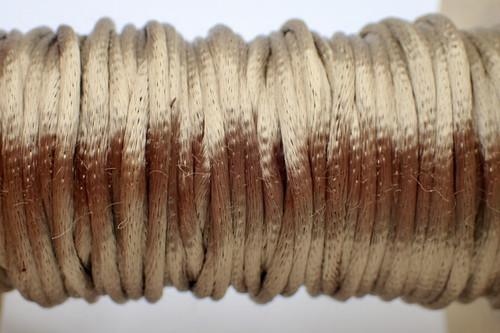 2mm Coffee Rayon Rattail Cord - Per Yard