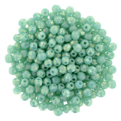 2mm Luster Iris Turquoise Fire Polish Beads - 50pk