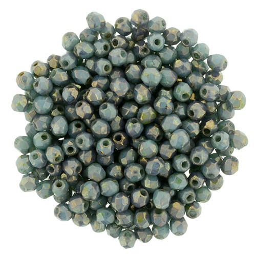 2mm Turquoise Bronze Picasso Fire Polish Beads - 50pk
