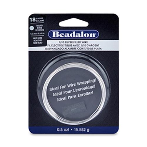 1/10 Silver Filled CDA220, Half Hard, Round, 18 gauge, (.040 in, 1.02 mm), 0.5 oz t (15.552 g), appx. 7ft (2.13m)