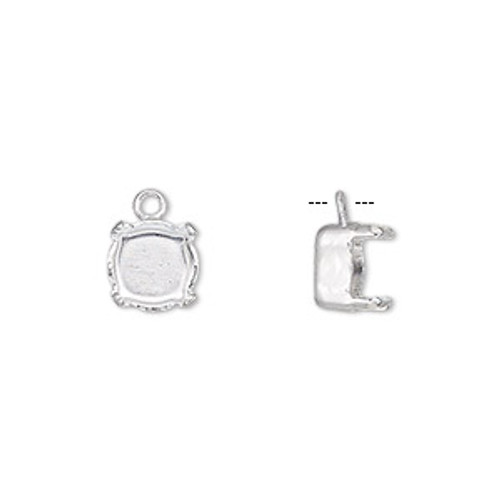 Silver Plated 8mm Chaton Prong Setting (2pk)
