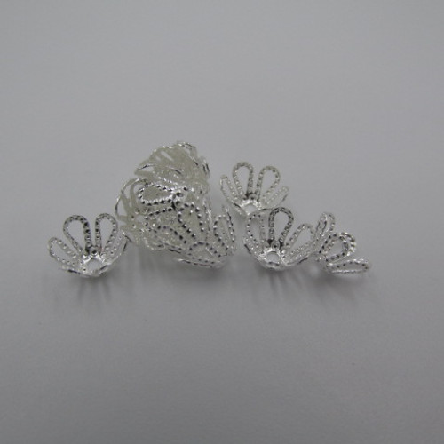 Silver Plated Filigree Flower Bead Cap (12 Pack) 3425