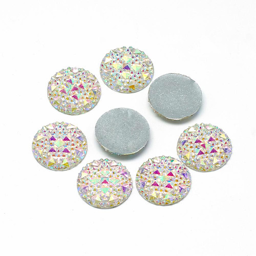 Resin Cabochons, Buttom Silver Plated, AB Color, Half Round/Dome, White, 18x3.5mm (6pk)