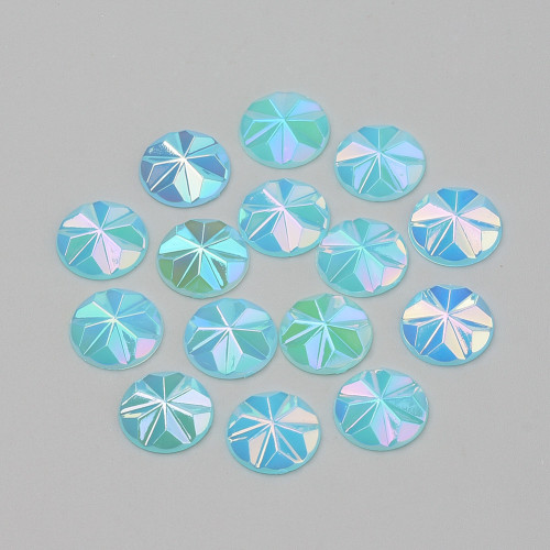 Acrylic Cabochons, AB Color Plated, Faceted, Dome/Half Round, Deep Sky Blue, 12x3mm (12pk)
