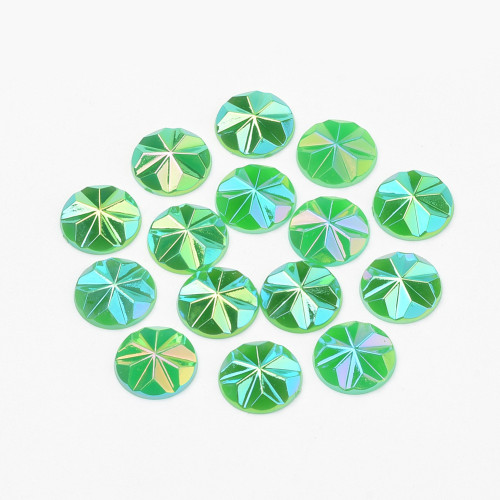 Acrylic Cabochons, AB Color Plated, Faceted, Dome/Half Round, Lime Green, 12x3mm (12pk)