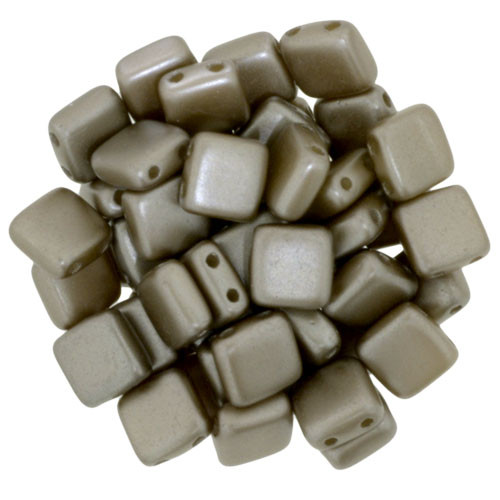6mm 2-Hole Pearl Coat Brown Sugar Tile Beads - 50pk