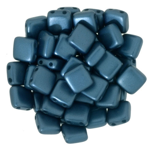 6mm 2-Hole Pearl Coat Steel Blue Tile Beads - 50pk